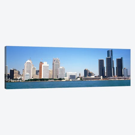 Skyline Detroit MI USA 3-Piece Canvas #PIM2153} by Panoramic Images Art Print