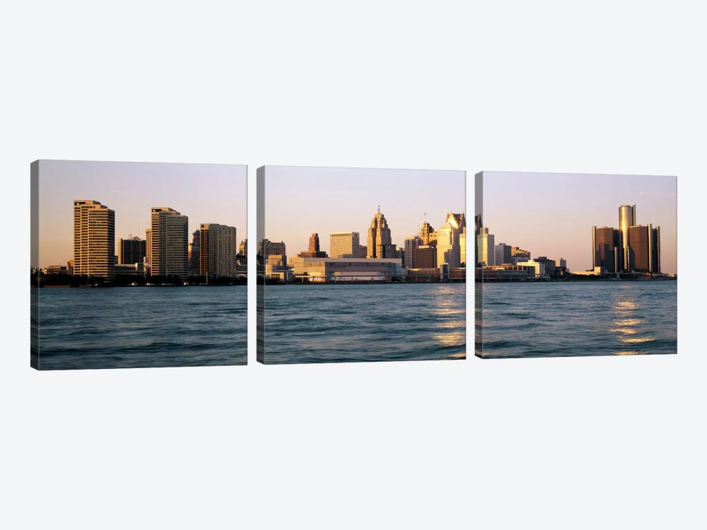 Skyline Detroit MI USA 3-piece Canvas Wall Art