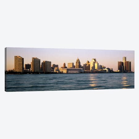 Skyline Detroit MI USA 3-Piece Canvas #PIM2154} by Panoramic Images Canvas Wall Art