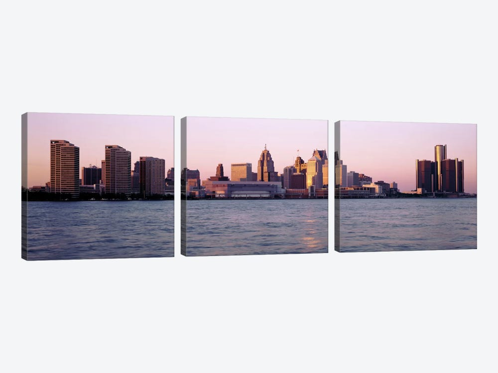 Skyline Detroit MI USA by Panoramic Images 3-piece Art Print