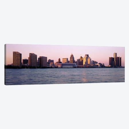 Skyline Detroit MI USA 3-Piece Canvas #PIM2155} by Panoramic Images Canvas Wall Art