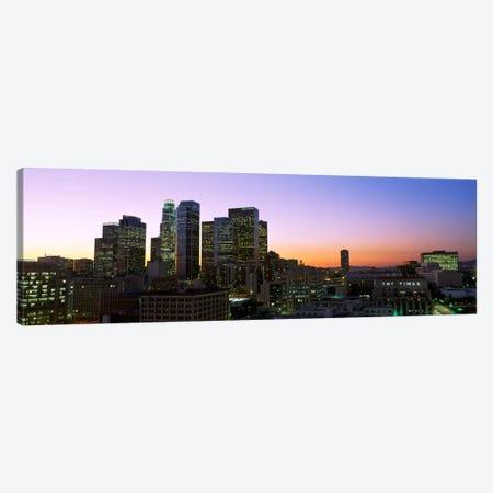 Silhouette of skyscrapers at duskCity of Los Angeles, California, USA Canvas Print #PIM2158} by Panoramic Images Canvas Print