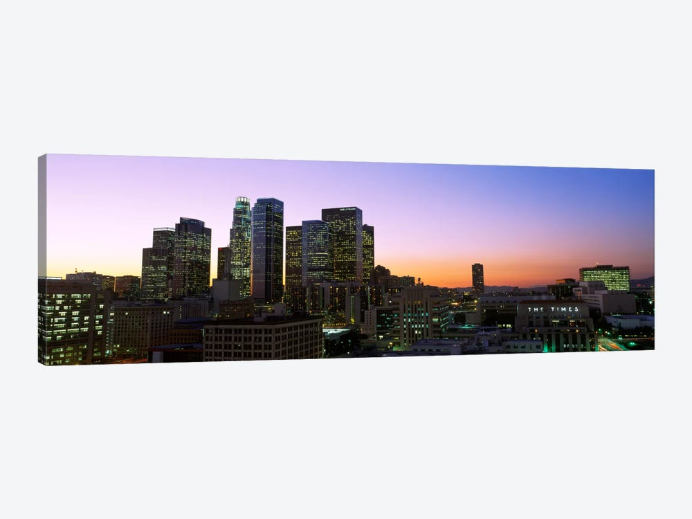 Silhouette of skyscrapers at duskCity of Los Angeles, California, USA by Panoramic Images 1-piece Canvas Art