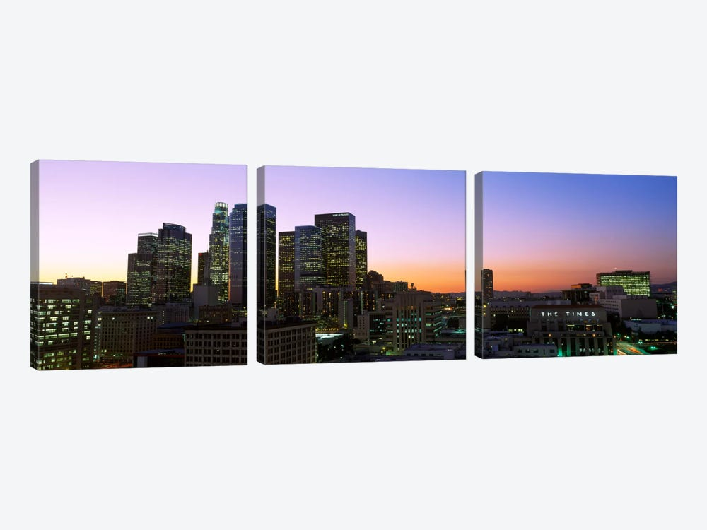 Silhouette of skyscrapers at duskCity of Los Angeles, California, USA 3-piece Canvas Wall Art