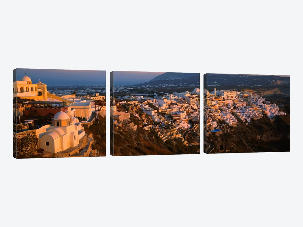 High angle view of buildings in a townFira, Santorini, Cyclades Islands, Greece by Panoramic Images 3-piece Canvas Artwork