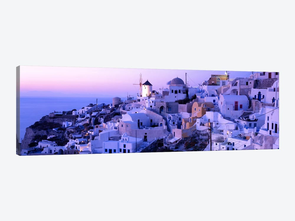 Evening Twilight, Oia, Santorini, Cyclades, Greece by Panoramic Images 1-piece Canvas Artwork