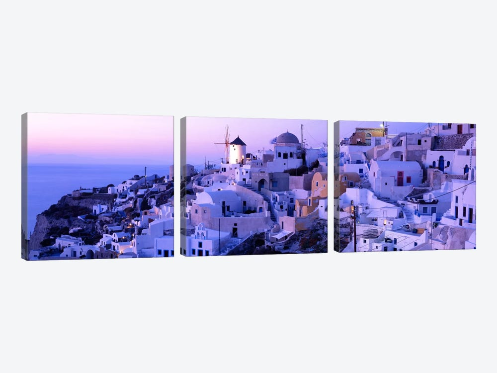 Evening Twilight, Oia, Santorini, Cyclades, Greece by Panoramic Images 3-piece Canvas Artwork