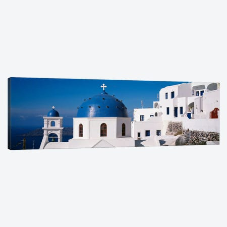 GreeceSantorini, Fira, Church of Anastasis, Blue dome on a Church Canvas Print #PIM2169} by Panoramic Images Canvas Wall Art