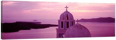 Silhouette of A ChurchSantorini Church, Greece Canvas Art Print