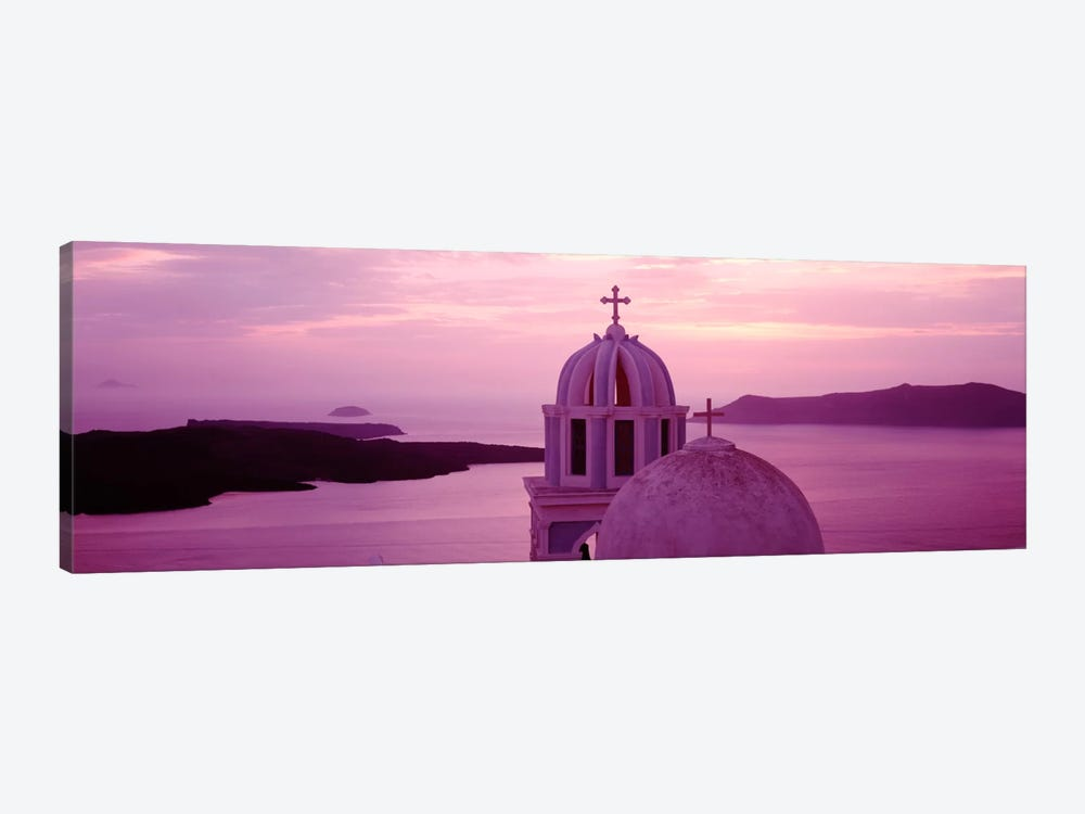Silhouette of A ChurchSantorini Church, Greece 1-piece Canvas Art