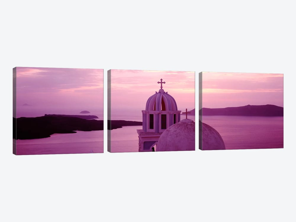 Silhouette of A ChurchSantorini Church, Greece 3-piece Canvas Wall Art