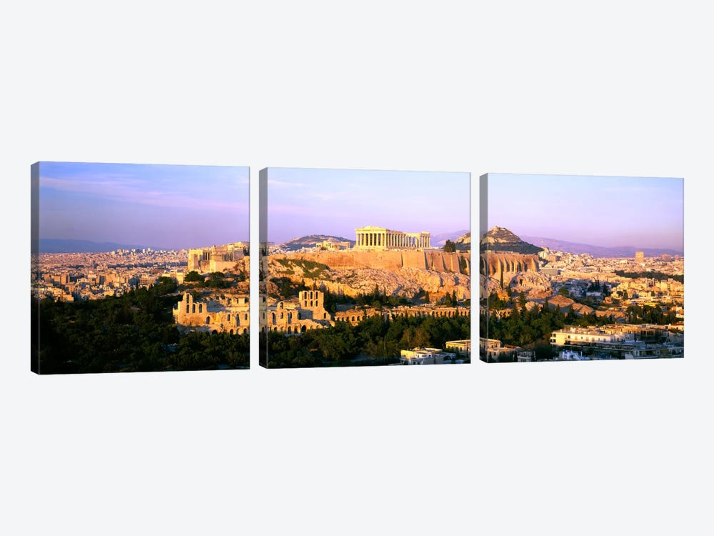Aerial View Featuring The Acropolis Of Athens, Greece by Panoramic Images 3-piece Canvas Art