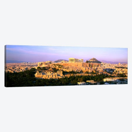 Aerial View Featuring The Acropolis Of Athens, Greece 3-Piece Canvas #PIM2172} by Panoramic Images Canvas Print