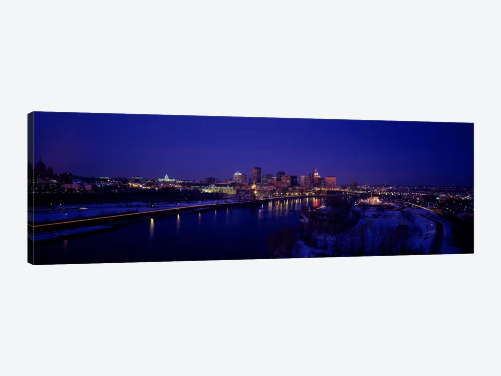 Reflection of buildings in a river at nightMississippi River, Minneapolis & St Paul, Minnesota, USA by Panoramic Images 1-piece Canvas Wall Art