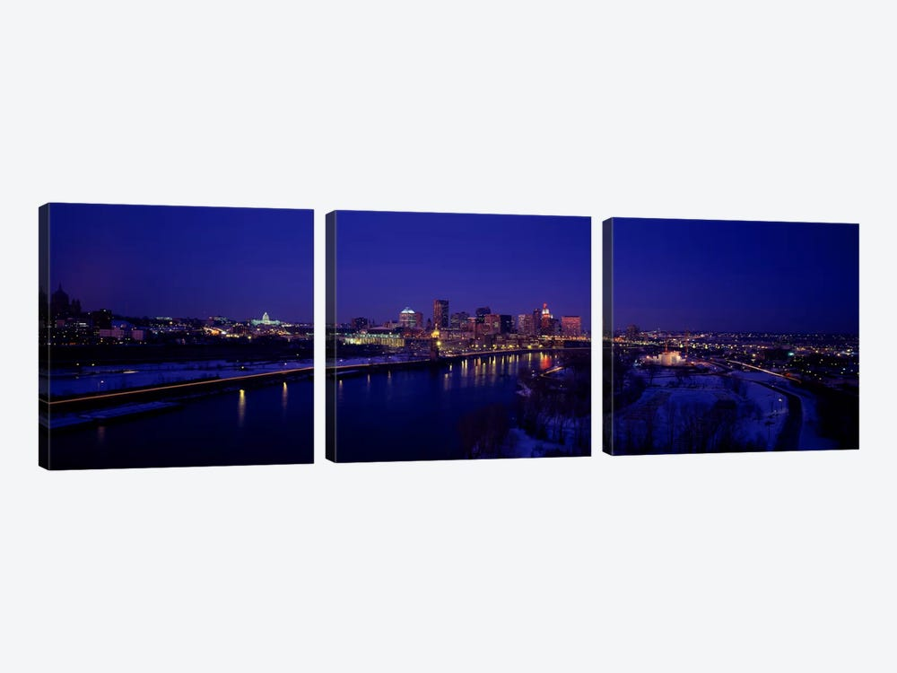 Reflection of buildings in a river at nightMississippi River, Minneapolis & St Paul, Minnesota, USA by Panoramic Images 3-piece Canvas Art