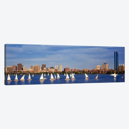USA, Massachusetts, Boston, Charles River, View of boats on a river by a city Canvas Print #PIM2176} by Panoramic Images Canvas Wall Art
