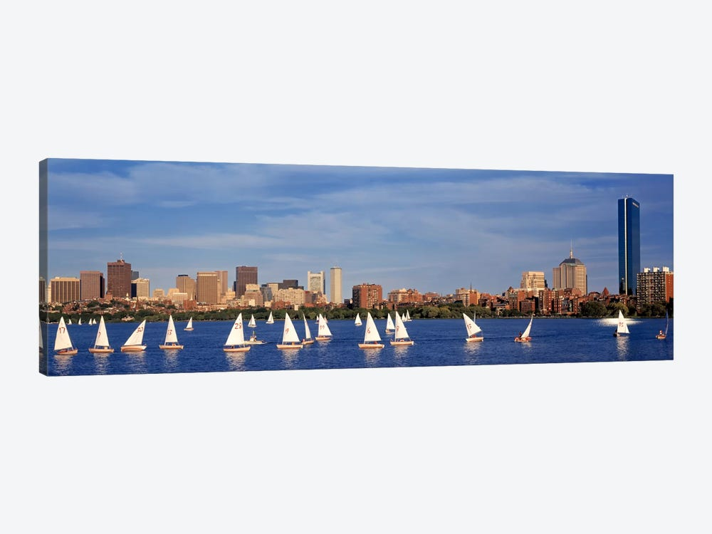 USA, Massachusetts, Boston, Charles River, View of boats on a river by a city by Panoramic Images 1-piece Canvas Artwork