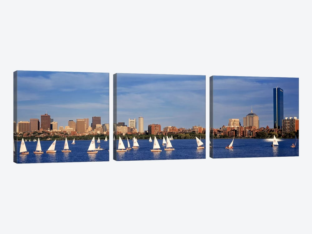 USA, Massachusetts, Boston, Charles River, View of boats on a river by a city by Panoramic Images 3-piece Canvas Wall Art