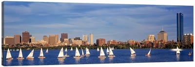 USA, Massachusetts, Boston, Charles River, View of boats on a river by a city Canvas Art Print