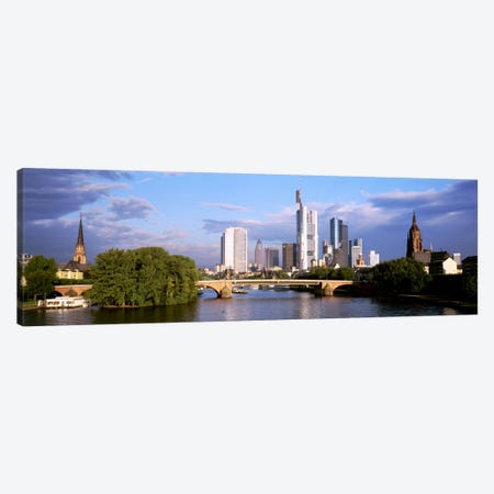 Skyline As Seen From The Main River, Frankfurt, Hesse, Germany Canvas Print #PIM2178} by Panoramic Images Art Print