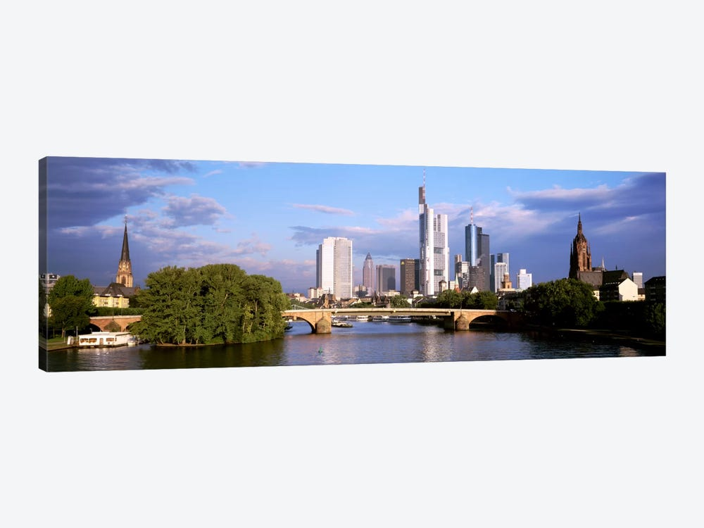 Skyline As Seen From The Main River, Frankfurt, Hesse, Germany by Panoramic Images 1-piece Canvas Art