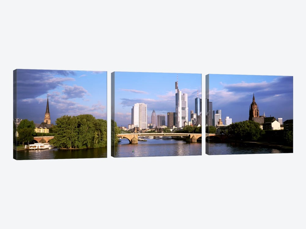 Skyline As Seen From The Main River, Frankfurt, Hesse, Germany by Panoramic Images 3-piece Canvas Artwork