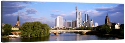 Skyline As Seen From The Main River, Frankfurt, Hesse, Germany Canvas Art Print