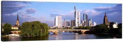 Skyline As Seen From The Main River, Frankfurt, Hesse, Germany Canvas Art Print