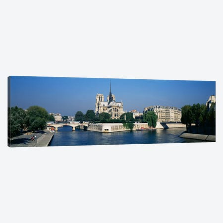 Cathedral along a river, Notre Dame Cathedral, Seine River, Paris, France Canvas Print #PIM2184} by Panoramic Images Canvas Print