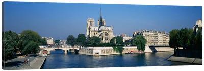 Cathedral along a river, Notre Dame Cathedral, Seine River, Paris, France Canvas Print #PIM2184