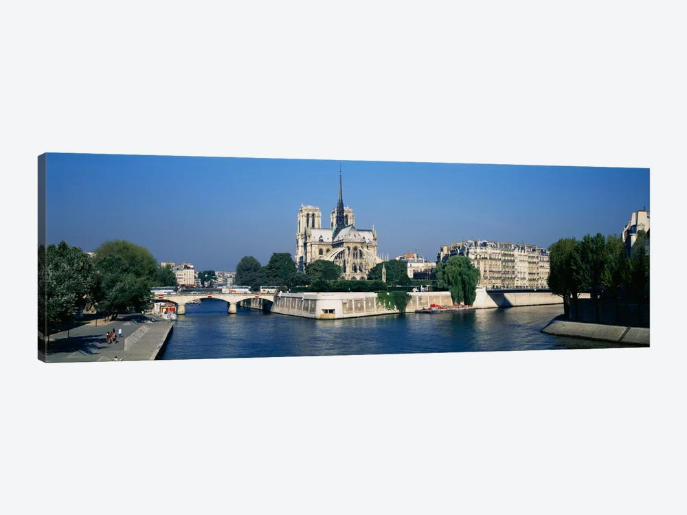 Cathedral along a river, Notre Dame Cathedral, Seine River, Paris, France by Panoramic Images 1-piece Canvas Art Print