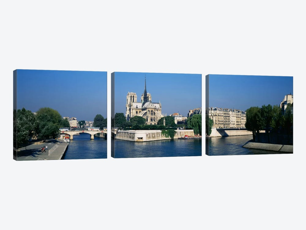 Cathedral along a river, Notre Dame Cathedral, Seine River, Paris, France by Panoramic Images 3-piece Art Print