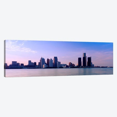 Buildings along waterfront, Detroit, Michigan, USA Canvas Print #PIM2189} by Panoramic Images Canvas Artwork