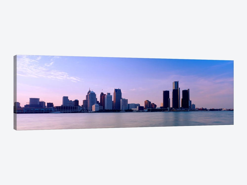 Buildings along waterfront, Detroit, Michigan, USA by Panoramic Images 1-piece Canvas Wall Art