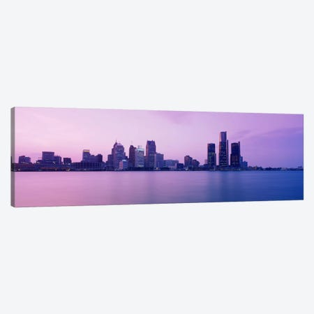 Skyscrapers at the waterfront, Detroit, Michigan, USA Canvas Print #PIM2190} by Panoramic Images Art Print