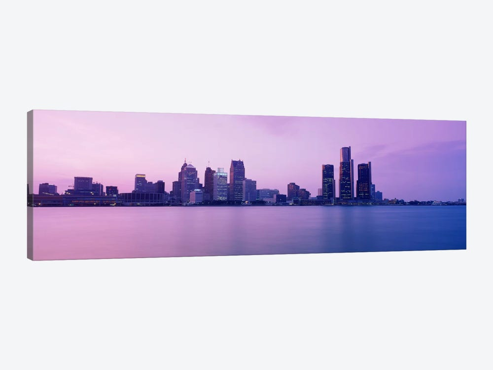Skyscrapers at the waterfront, Detroit, Michigan, USA by Panoramic Images 1-piece Canvas Artwork