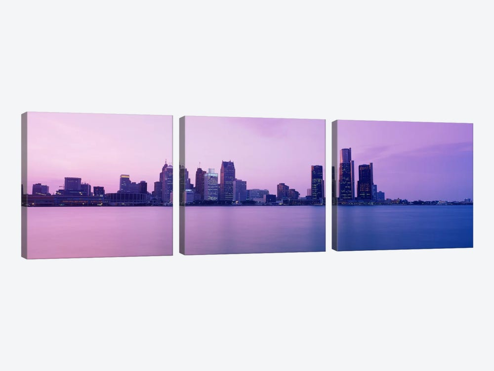 Skyscrapers at the waterfront, Detroit, Michigan, USA by Panoramic Images 3-piece Canvas Artwork