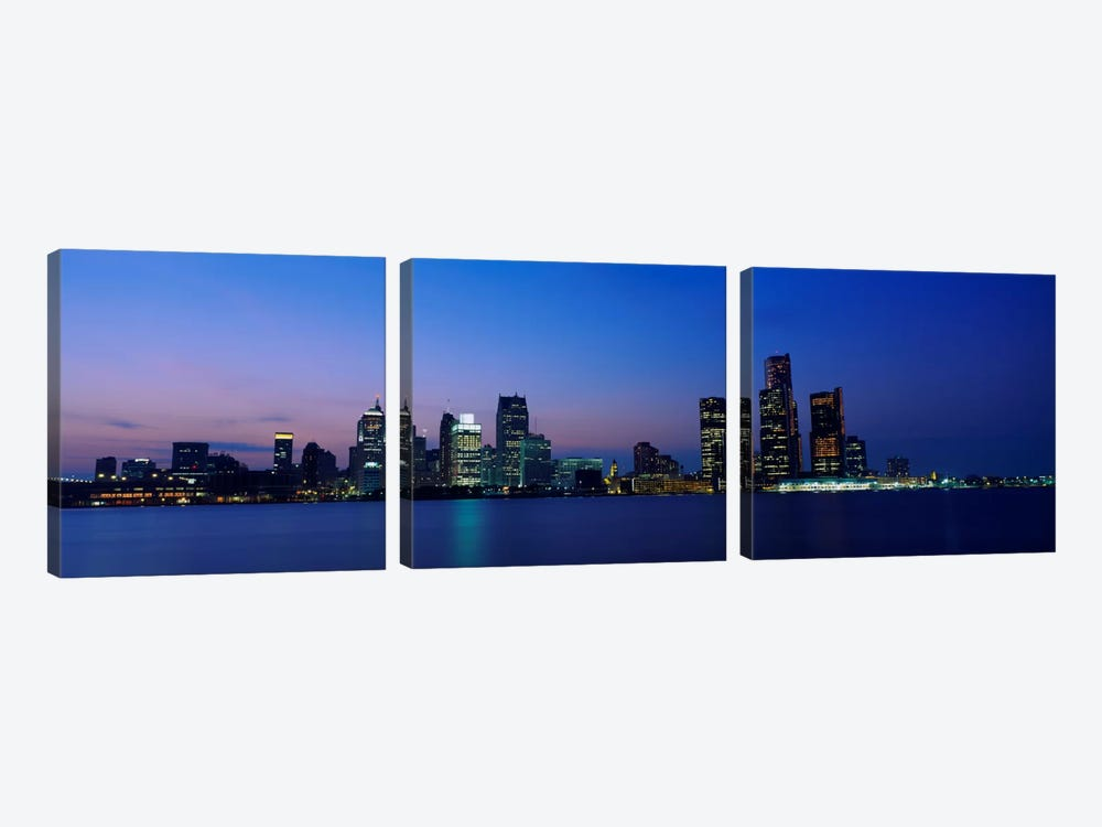 Buildings at the waterfront, Detroit, Michigan, USA #2 by Panoramic Images 3-piece Canvas Art Print