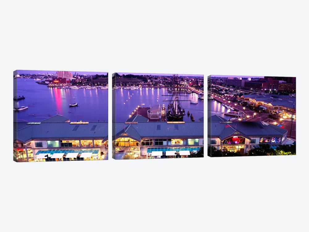 Buildings at a harbor, Inner Harbor, Baltimore, Maryland, USA by Panoramic Images 3-piece Canvas Art