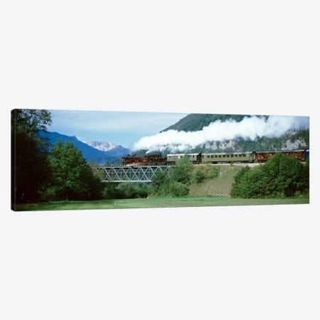 Steam Locomotive Travelling Along The Bohinj Railway, Bohinjska Bistrica, Upper Carniola, Slovenia Canvas Print #PIM2214} by Panoramic Images Canvas Print