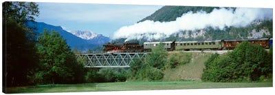 Steam Locomotive Travelling Along The Bohinj Railway, Bohinjska Bistrica, Upper Carniola, Slovenia Canvas Print #PIM2214