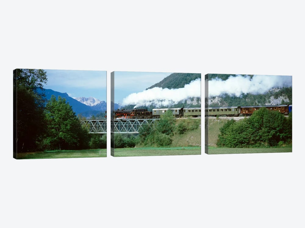 Steam Locomotive Travelling Along The Bohinj Railway, Bohinjska Bistrica, Upper Carniola, Slovenia by Panoramic Images 3-piece Canvas Artwork