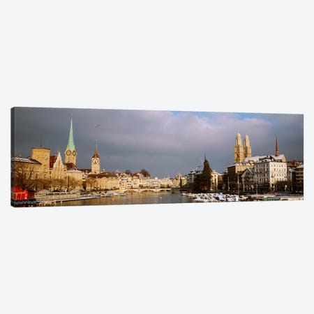 Winter Landscape Along The Limmat River, Zurich, Switzerland Canvas Print #PIM2217} by Panoramic Images Art Print