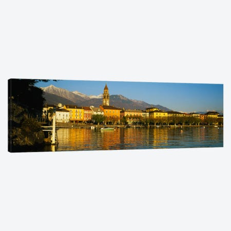 Town At The Waterfront, Ascona, Ticino, Switzerland Canvas Print #PIM2218} by Panoramic Images Canvas Wall Art