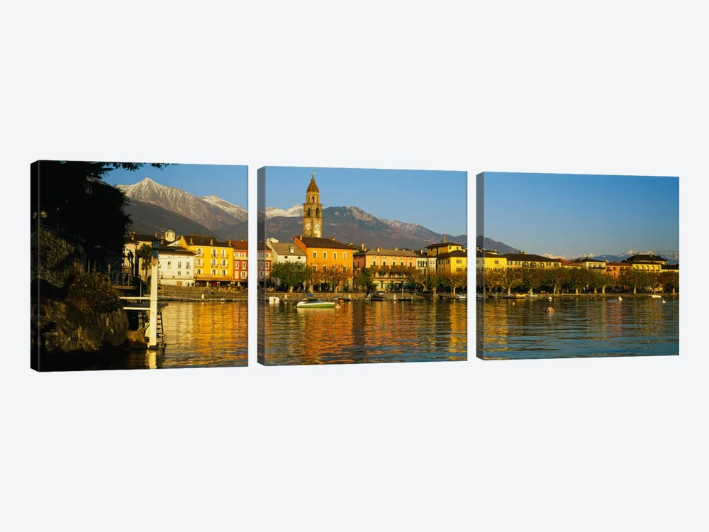 Town At The Waterfront, Ascona, Ticino, Switzerland 3-piece Canvas Wall Art