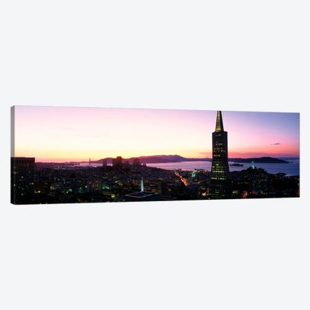 Night Skyline With View of Transamerica Building & Golden Gate BridgeSan Francisco, California, USA Canvas Print #PIM221} by Panoramic Images Canvas Wall Art