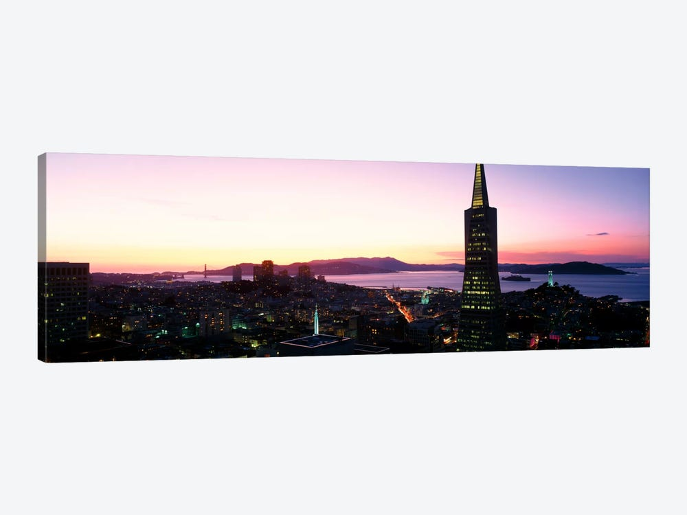 Night Skyline With View of Transamerica Building & Golden Gate BridgeSan Francisco, California, USA by Panoramic Images 1-piece Canvas Art