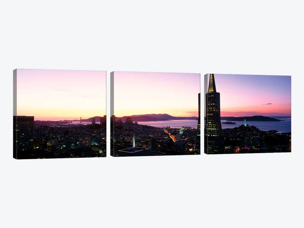 Night Skyline With View of Transamerica Building & Golden Gate BridgeSan Francisco, California, USA by Panoramic Images 3-piece Canvas Artwork