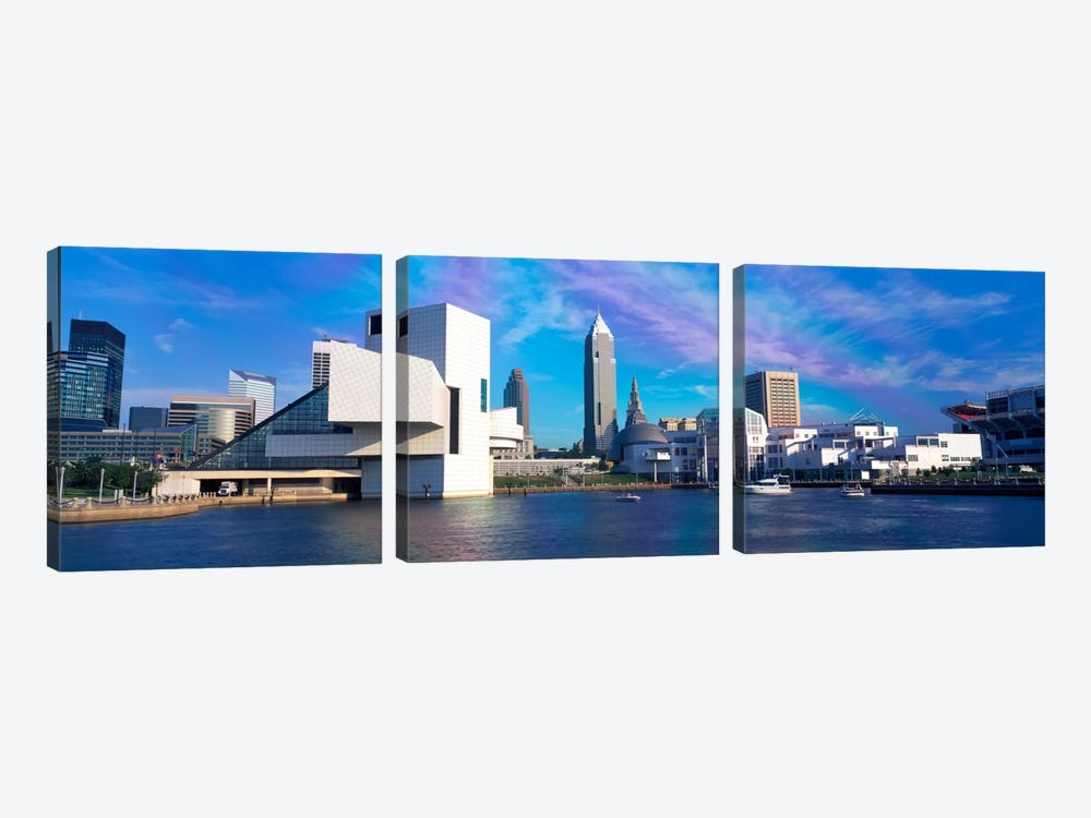 Buildings at the waterfront, Cleveland, Ohio, USA by Panoramic Images 3-piece Canvas Print