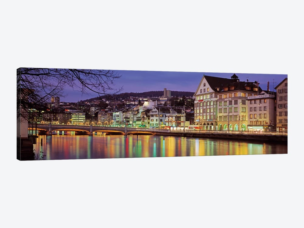 Riverfront Architecture, Zurich, Switzerland by Panoramic Images 1-piece Canvas Artwork